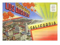 Postcard Folder, Wonderful Los Angeles, California Premium Poster