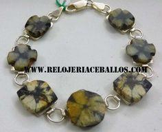 pulsera de plata y quiastolita. disponible en nuestra web. relojeriaceballos.com