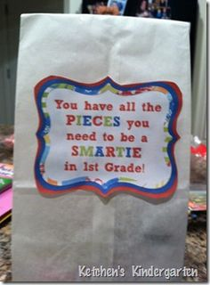 "End of Year Gift - ""You have all the Pieces you need to be a Smartie"" -  free labels for K/1/2/3 and generic next year"