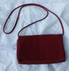 Red Leather Crossbody Minimalist Purse by TymelessTrinkets on Etsy