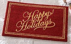 Festive Happy Holidays Coco Door Mat