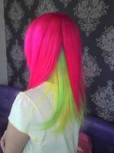 pink, green, and yellow hair. I wouldn't wear my hair these colors but it looks good together. Neon Hair Color, Pretty Hair Color, Neon Colors, Hair Colors, Bright Colors, Pink Color, Love Hair, Gorgeous Hair, Violett Hair