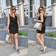 Get this look: http://lb.nu/look/7721530  More looks by Manuella Lupascu: http://lb.nu/manuella  Items in this look:  Freyrs Sunglasses, Shein Tuxedo Dress, Marc Jacobs Glitter Oxfords   #casual #chic #street