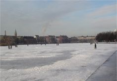 The Lakes (Søerne) in Copenhagen are one of the oldest and most distinctive features of the city's topography. In the winter, they DO freeze over.