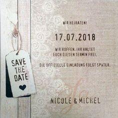 Save the Date Karte / Dankkarte mit Leinenaufdruck, Holzeffekt