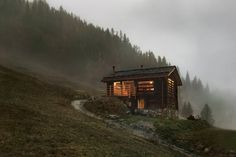 Situated in a small hamlet on the heights of the village of Bruson, this barn was very close from collapsing when it was bought to be transformed by a couple who fell in love with the location. Chalet Style, Ski Chalet, Lausanne, Alpine Lodge, Off Grid Cabin, Cabins In The Woods, Contemporary Architecture, Lodges, In The Heights