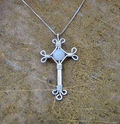 White jade silver cross from Marika's Wire Wrapped Artisan Handmade Jewellery by DaWanda.com