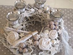 Advent wreath – Advent wreath * SILENT NIGHT * shabby white – a unique product of … - DIY Christmas Decorations Christmas Advent Wreath, Handmade Christmas Decorations, Christmas Candles, Christmas Open House, White Christmas, Christmas Time, Diy And Crafts, Christmas Crafts, Yule