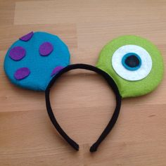 Mike and Sully Micky ears for my excited grandson who is going to Disneyland. Mike And Sully Costume, Micky Ears, Freshman, Disney Stuff, Disneyland, Halloween Costumes, Diy, Head Bands, Manualidades