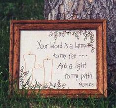 Primitive Stitchery Pattern - Thy Word is a Lamp