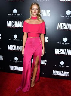 Who: Rosie Huntington-Whiteley When: August 22, 2016 Why: Get ready, the thigh-high slit is making its way to pants, with Rosie Huntington-Whitely as its ambassador. She wore this hot pink Balmain set to the Hollywood premiere of Mechanic: Resurrection. GETTY