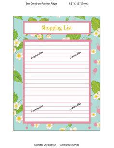 PRINTABLE-Shopping  List-Erin Condren planner insert-planner mania-life planner