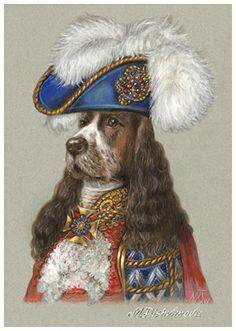 """English Cocker Spaniel. The Duke"". Art Print 11.7'' x 16.5''. Painted by Maria Pishvanova for Animal Century Art Collection #englishcockerspaniel #englishcocker"