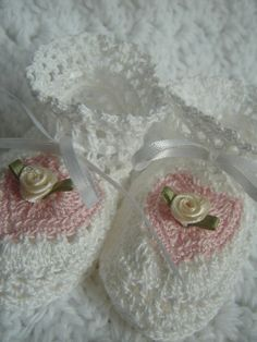 Be Mine Crochet Baby Booties for Newborn in White and Pink French Cotton By Amarte Baby