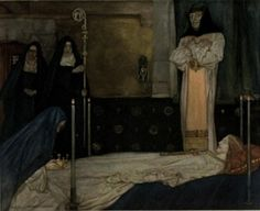 William Russell Flint illustration for  Le morte Darthur;    How Sir Launcelot went with his seven fellows to Almesbury, and found there Queen Guenever dead, whom they brought to Glastonbury.