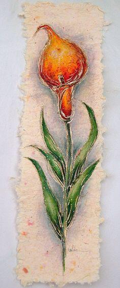 Calla lily on hand made paper valda Fitzpatrick