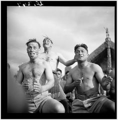 Members of the Maori Battalion performing a haka at the opening of the Tamatekapua meeting house at Ohinemutu in Photograph taken by John Pascoe. Polynesian People, D Company, John Miller, In Memory Of Dad, Brothers In Arms, Maori Art, See The Sun, Trigger Happy, All Blacks
