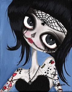 Bette by Dottie Gleason Gothic Tattooed Spider Girl Canvas Art Print