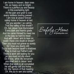 Safely Home | Grief Poems Card | all-greatquotes.com