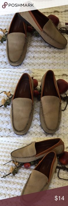 Rockport Beige Brown Suede Leather loafers Size 10 Men's Rockport adiPrene by adidas slip on suede  shoes with brown genuine leather trim.  Minimal wear. Just needs cleaning. Rockport Shoes Loafers & Slip-Ons