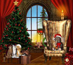 Christmas Tree - splendor, balls, ribbon, pretty, dream, fantasy, holiday, gift, candles, cats, cute, merry christmas, cat face, christmas, bow, ball, light, star, armchair, kitty, sweet, window, animals, beautiful, santa, adorable, tree, beauty, magic, xmas, magic christmas, christmas tree, gifts, candle, colorful, paws, hat, christmas light, colors, lights, lovely, elephant, cat, kitten, box