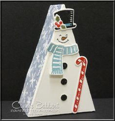 My Cutie Pie Box dressed up as a Snowman for the Create with Connie and Mary Saturday Blog Hop!  Favor, treat, triangle box, Stampin' Up!, #stampinup, created by Connie Babbert, www.inkspiredtreasures.com