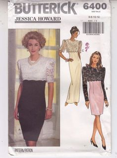 Bridal Bridesmaid Dress Lace Overlay MOB Butterick Sew Pattern 6400 Uncut 6-12 #Butterick6400 #dresswithlaceoverlay