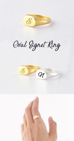 Monogram Signet Rings • Initial Ring • Oval Signet Rings • Couple Initial Ring •  Signet Ring With Initial • Engraved Name Ring • Ring With Names • Customized Name Ring • Sterling Silver Ring • Engraved Jewelry • Personalized Jewelry • Birthday Presents For Her • Gift For Him • Gift For Her • Sentimental Gifts For Bridesmaids • Engagement Present Ideas • Fashion Ring Jewelry Trends 2018, Signet Ring, Ring Ring, Best Friend Jewelry, Handmade Jewelry Designs, Fashion Jewelry, Fashion Ring, Jewellery Display, Valentine Day Gifts