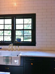 "Kitchen Island 4 X 8 3x8 ""frost"" glass tile at kitchen and butler's pantry backsplashes"