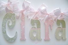 GLITTER and SPARKLE  Hand Painted Wall Letters. $15.50, via Etsy.