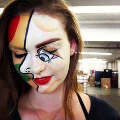 http://www.pinterest.com/fleurduluxe/halloween-makeup/  Abstract art face makeup.