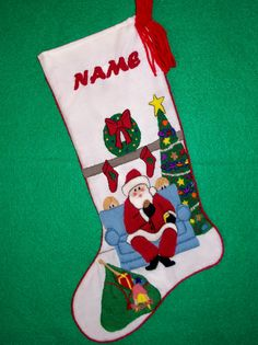 Left Facing Santa Christmas Stocking Kit - Crewel Embroidery Kit for  Beginners - Personalized Unique Gift
