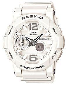 G-Shock Womens BGA180 Glide with Tide Graph Baby-G Series Designer Watch - White One Size Casio
