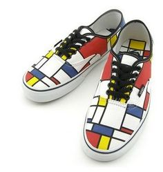 VANS Modular Authentic - Mondrian Inspired Born in Piet Mondrian was and still is, the most renown artist to propagate the art form of De Stijl, or commonly known as Neo-Plasticism, an artistic Bauhaus, Wassily Kandinsky, Theo Van Doesburg, Art Et Design, Funky Design, Arte Fashion, Yayoi Kusama, Sneaker Magazine, Painted Shoes