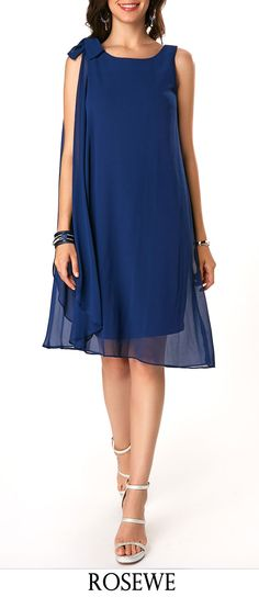 Bowknot Detail Navy Sleeveless Chiffon Dress.#Rosewe#chiffon#dress