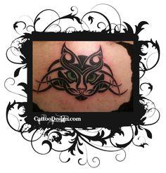 Tribal cat face tattoo