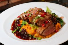 Roasted Duck with Sweet Potato Puree, pomegranate, and almonds. From my Autumn / Winter dinner party menu