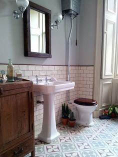 edwardian encaustic tile floor with subway tile - Google Search