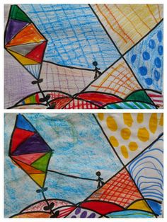"Kindergarten Art Class: ΧΑΡΤΑΕΤΟΙ ζωγραφίσαμε χαρταετούς ""Pop Art"" με μοτίβα όπως του  ROMERO BRITTO"