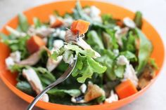 Sweet potato salad - rotisserie chicken, greens, balsamic, goat cheese, and boiled sweet potato