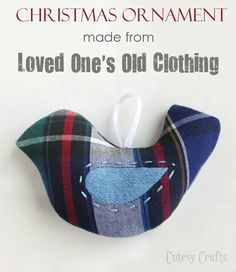 11 DIY Memorial Craft Projects for Crafty People Memorial idea for the holidays – Make a Christmas ornament from your loved one's old clothing. Just one of 11 DIY Memorial Craft Projects for Crafty People from Urns Northwest Memorial Ornaments, Bird Ornaments, Memorial Gifts, Handmade Ornaments, How To Make Ornaments, Memorial Ideas, Ornaments Ideas, Fabric Ornaments, Glitter Ornaments