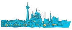 Tallinn Estonia Colored Panorama by Hebstreit #drawing #sketch #travel #pen #download #digital #vector #art #stockimage #hebstreit