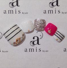 Feet Nail Design, Toe Nail Designs, Nail Art Kit, Toe Nail Art, Cute Toe Nails, Pretty Nails, Nail Manicure, Diy Nails, Aloha Nails