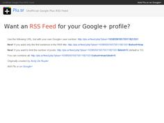 How to generate an RSS Feed from your Google+ Profile