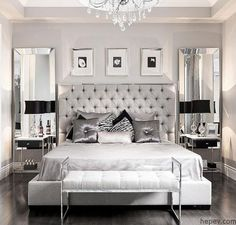 Gri ve Gümüş Tonlarında Yatak Odası Dekorasyonları - http://hepev.com/gri-gumus-tonlarinda-yatak-odasi-dekorasyonlari-8008/