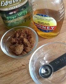 Moisturizing Lip Scrub • Homemade   * 1/2 teaspoon olive or coconut oil  * 1/2 teaspoon brown sugar - if you find that the sugar is too harsh, you can use baking soda.  * 1/2 teaspoon of honey