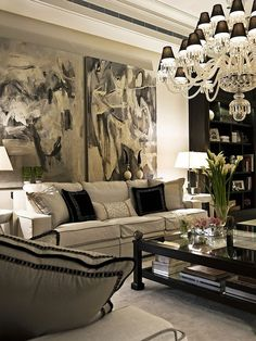 Luxurious Living Room -- Curated by: Rainbow Painting | 1350 Green Bay Road West…