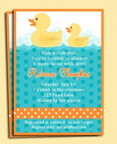 Rubber Duck invitation for baby shower or use one duck for birthday or more than one for siblings!