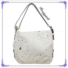 "Coach Studded Shoulder Bag #16178 - EUC Coach Appliqué Studded White Duffle Shoulder Bag #16178  Retailed for $428 + Tax Excellent Condition ~ No Stains or Rips! Rarely Carried  White Leather Silver Hardware  Inside zip, cell phone and multifunction pockets Zip-top closure with leather pull  Outside zip pocket on Back Adjustable strap for shoulder or crossbody wear Green Satin Lining Approx Measures  15"" (L) x 12"" (H) x 4"" (W) Adjustable Shoulder Strap up to 16"" ❌NO TRADE OR PP❌ Coach Bags…"