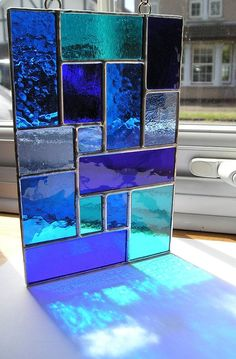 glass panels Abstract Stained Glass Suncatcher Shades of Blue Handmade Stained Glass Designs, Stained Glass Projects, Stained Glass Patterns, Stained Glass Art, Stained Glass Windows, Stained Glass Window Hangings, Modern Stained Glass Panels, Glass Painting Patterns, Stained Glass Suncatchers